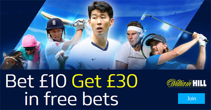 William Hill Bet £10 Get £30 Offer